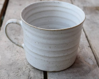 Handmade ceramic mug *Made to order* Hand crafted medium size pottery mug with speckled white stoneware glaze