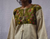 Handwoven Wool Jacket l Hand Embroidery Vintage Style Wool Cardigan l Mexican Embroidery l Hippie l Bohemian Cardigan
