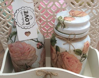 READY TO SHIP - Hand decorated shabby chic vintage rose set, vintage look, shabby chic, roses, home decor, bottle, jar, vintage home, decoup