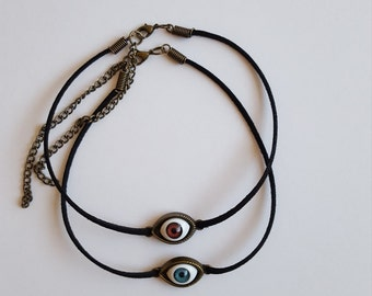 Evil Eye / Third Eye Chokers / Black Suede Choker / Suede Choker / Adjustable / Handmade Choker