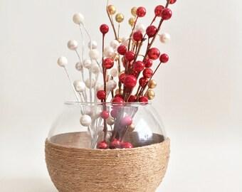 Rustic Vase, Rustic Home Decor, Farmhouse Decor, Rustic Centerpiece, Rustic Wedding Decor, Country Decor, Table Decor, Jute Twine Decor