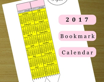 Printable 2017 Bookmark Calendar