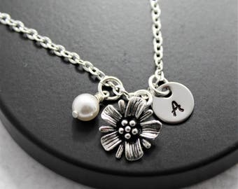 Pearl Flower Necklace - Flower Girl Pearls - Flower Pendant - Spring Flower Necklace - Flower Necklace