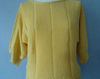 80s pullover true vintage knitted sweater knitting S M yellow bat sleeve boat neck sporty hipster blogger summer