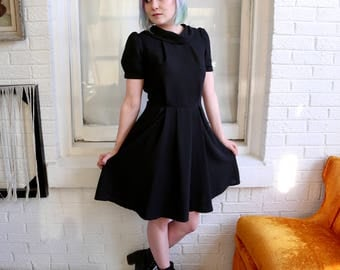 FREE SHIPPING: Vintage 80s (1950s Inspired) Black Short Puff Sleeve Reverse Collar Pleated Dress