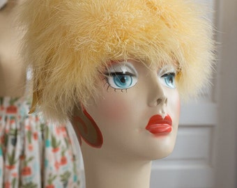 Canary Yellow Feather Beehive Pillbox Hat | Helen Yoffe feather mod hat | 1960s 60s women's hat | Sunshine yellow feather cloche Mad Men hat