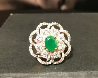 Indian Jewelry - Indian Ring - Green and Diamond Ring - Adjustable Ring - Fashion Ring - Cocktail Ring - Imitation Jewelry - Wedding Ring
