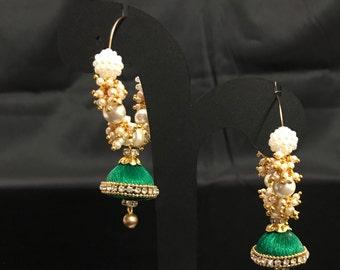 Dark Green Silk Thread Jewelry - Silk Thread Earrings - Indian Jewelry - Indian Earrings - Bollywood Jewelry - Pakistani Jewelry - Desi -