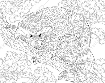 Adult Coloring Pages Raccoon Zentangle Doodle Book Page For Adults Digital Illustration