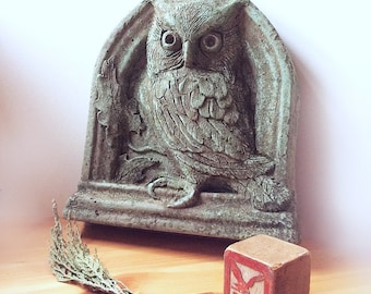 Cement screech owl wall sculpture for home or garden, owl sculpture, bird sculpture, garden decor, garden sculpture, pediment, owl art, bird