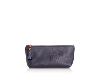 Cosmetic bag, leather bag, make-up bag, blue, orange, make up bag, pencil case, pencil pen cases, pencil cases, leather