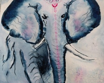 Original Warrior Elephant Spirit Animal Watercolor Painting