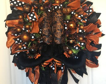 Orange and Black Halloween Wreath