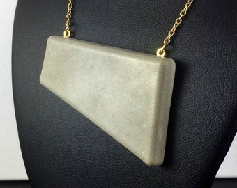 Concrete Necklace, Geometric Necklace, Large Pendant, Concrete Jewelry, Geometric Concrete Pendant, Concrete Pendant Necklace