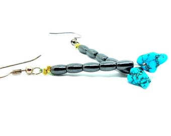 FREE SHIPPING! Original Handmade Designer Jewellery. Hematite and Turquoise Earrings. Turquoise earrings. Boho jewellery. SHARD Canada.