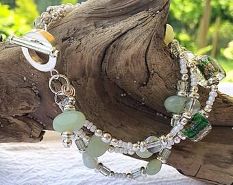 Jade Bracelet: multi strand, silver bracelet, boho style, chunky bracelet, vintage beads, one of a kind, green bracelet, gemstone bracelet