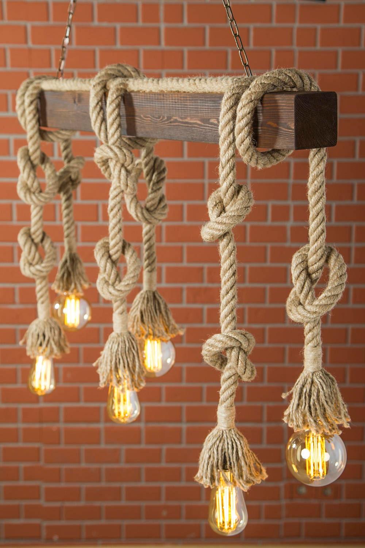 clairage rustique bois clair lustre rustique corde l g re. Black Bedroom Furniture Sets. Home Design Ideas