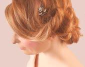 Vintage Gun Metal Silver Hair Pin - Bridesmaid hair accessory - Crystal Prom Hair Slide