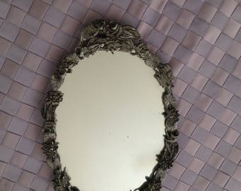 Ornate Metal Oval Mirror
