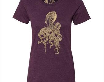 Women's Octopus T Shirt, 10% Donated to Animal Causes, Wildlife Tee, Animal Gift T-Shirt, Spirit Animal Tshirt, Ocean Animals