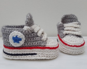 Crochet baby sneakers converse all stars shoes grey