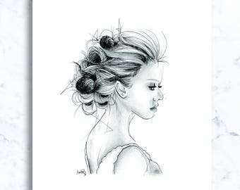 Pencil and ink illustration, girls series - 'Rose'