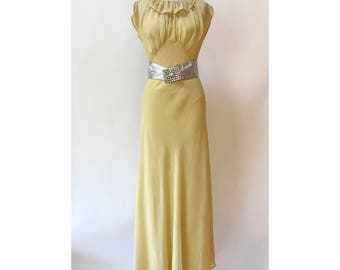 Vintage 1930s Butter Silk Bias Cut Dress XS