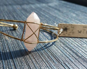Wire Wrapped Crystal Bangle