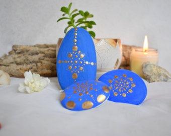 Trio blue gold, zen & meditation