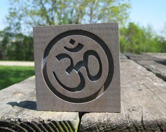 Reclaimed Wood Mahogany Om Symbol Plaque - Gray