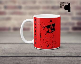 bonjour french bulldog mug, coffee mug, tea mug