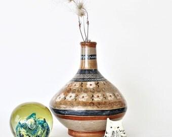 Vintage Mexican Burnished Ceramic Tonala Vase, Mexican Folk Art Vase, Collectible Mexican Art,Flower Vase ,Handmade Mexican Folk art Pottery