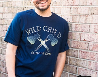 Wild Child Summer Camp T-Shirt. Cotton Unisex Navy Blue Tee / Hatchets, Camp, nature, wild, vintage, boys, teens, teen boys, gift for men