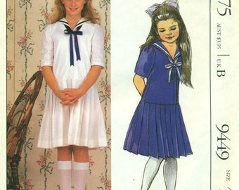 McCall's 9449 LAURA ASHLEY Pullover Dress Middy Dress Dropped Pleated Skirt Size 10   ©1985
