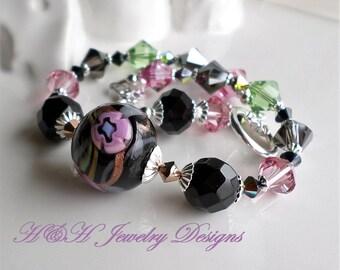 Venetian Glass Bracelet, Pink Black Murano Glass Bracelet, Murano Glass Jewelry, Floral Lampwork Bracelet, Pink Green Swarovski Bracelet