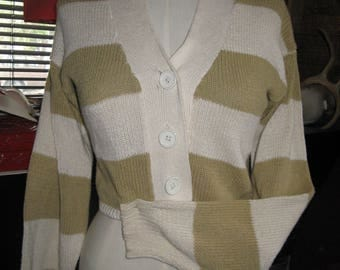1985 Cropped Striped New Wave Valley Girl Striped Sweater