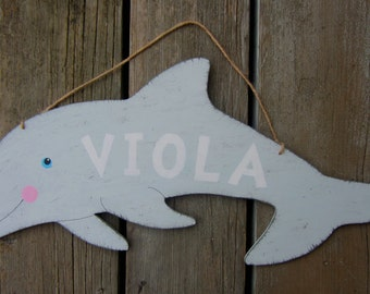 DOLPHIN Kids Personalized Door Hanger Sign - Original Hand Painted Wood - Beach Art