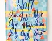 2017 Calendar Tea Towel in Blue