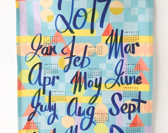 2017 Calendar Tea Towel in Blue