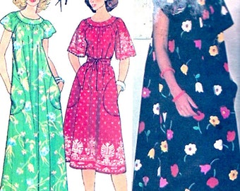Muu muu dress casual sewing pattern lounging summer style vintage McCalls 5919 UNCUT Petite