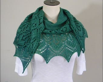 Shayna Love Strawberry Lace - hand knit shawl scarf - crescent shaped wrap