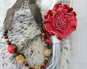 Leather Necklace in Camouflage - with Funky - Hand Painted -  Vintage Wooden Beads  - Deer Antler Tip by Stacy Leigh