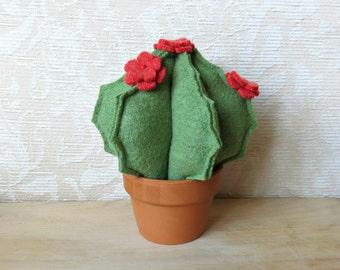 Plush Blooming Barrel Cactus, Eco Friendly Home Decor, Stuffed Cactus Pincushion