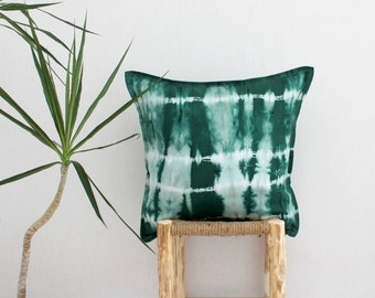 FOREST DWELLER . tie dye cushion cover . pillow . throw cushion . decorative pillow . throw pillow . emerald green boho gypsy tribal . aus
