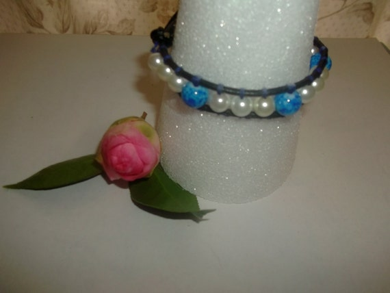 Blue and White Glass Bead and Pearl Leather Wrap Cuff Bracelet Mom Sister Friend Bridal Baby Shower Wedding Boho Chic Summer Gypsy