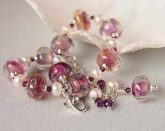 Lampwork and Freshwater Pearl Bracelet, Pink, Ivory, Amethyst, Artisan Lampwork Beaded Bracelet, Sterling Silver - RASPBERRY DELIGHT