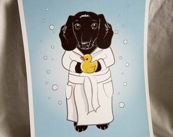 Bubbly Black Dachshund - 8x10 Eco-friendly Print