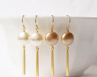 Pearl Earrings, Cream Pearl Dangle Earrings, Gold Pearl Dange Earrings