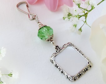 Wedding bouquet photo charm. Green crystal and small picture frame for a Bridal bouquet. Memorial photo charm. Unique Bridal shower gift.