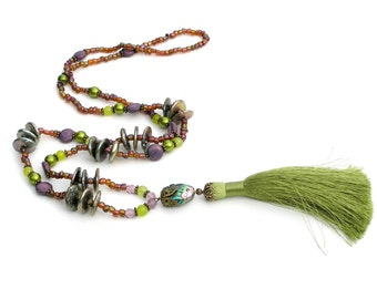 Tassel Necklace, Amethyst Beaded Necklace, Green Purple Necklace